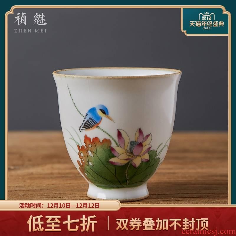 Shot incarnate the teacup jingdezhen ceramic your up hand - made lotus kung fu tea set sample tea cup masters cup single CPU