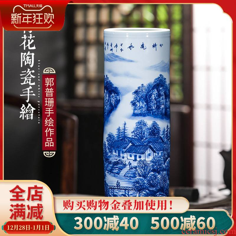 Jingdezhen porcelain vases, pottery and porcelain hand - made scenery of blue and white porcelain flower arranging place of new Chinese style household adornment sitting room