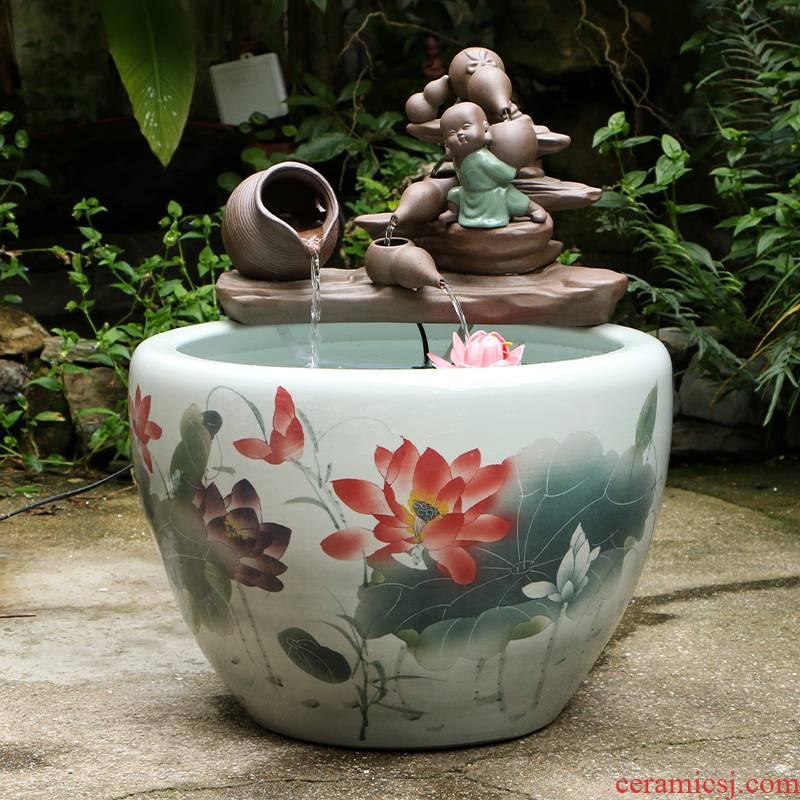 Art spirit of jingdezhen ceramic goldfish bowl courtyard tank aquarium black lotus turtle pond lily lotus home