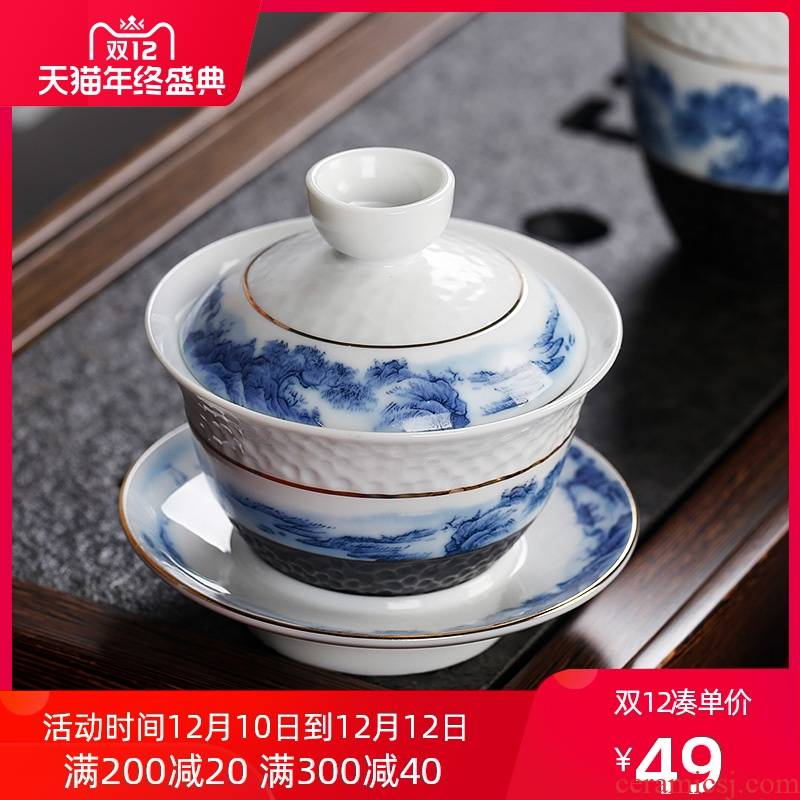 New one the use of Chinese style restoring ancient ways chinaware hammer only three cups of tea taking kunfu tea hand grasp tureen tea cups tea bowl