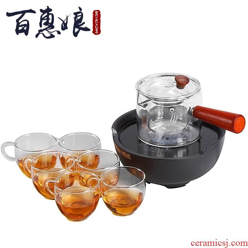 (niang, black pottery Japanese tea taking.mute household electrical TaoLu coarse pottery glass tea steamer to cook tea tea furnace side