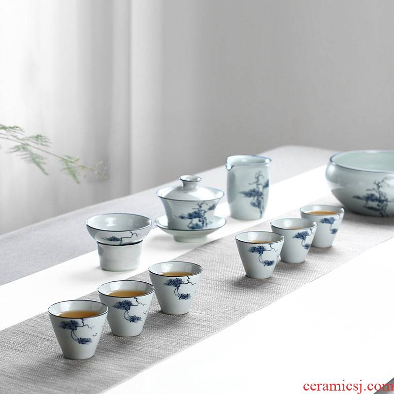 Hand archaize of jingdezhen blue and white porcelain clay against the hot tea tureen household ceramics cup portable travel kit