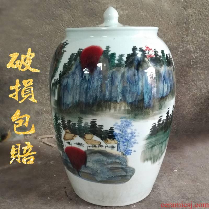 Jingdezhen big jar 100 catties of earthenware 50 barrel archaize mercifully wine GuanPing household seal storage tank
