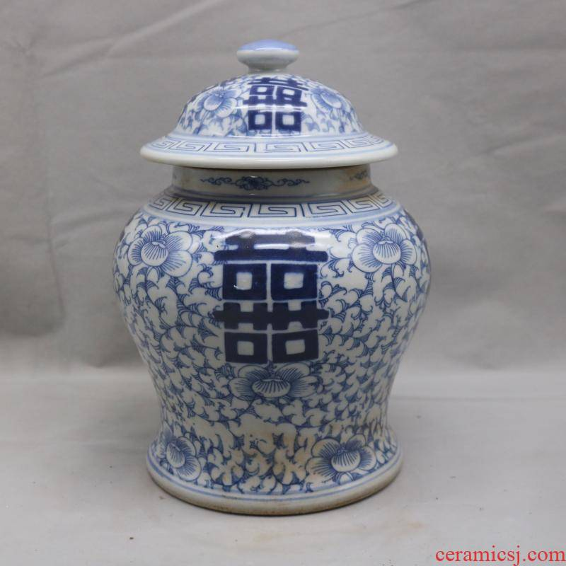 In the the qing dynasty, jingdezhen blue and white tie up branch general double happy character lines can of antique hand - made collectables - autograph garage antique collection furnishing articles