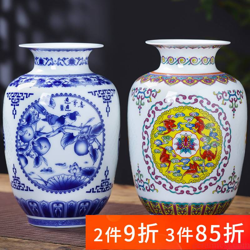 Floret bottle of blue and white porcelain of jingdezhen ceramics and exquisite furnishing articles of modern Chinese style household living room TV cabinet decoration
