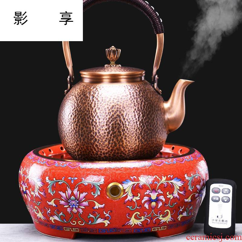 Shadow enjoy what kettle copper boiling kettle kung fu tea set household contracted vintage electric ceramic tea stove bronze SY