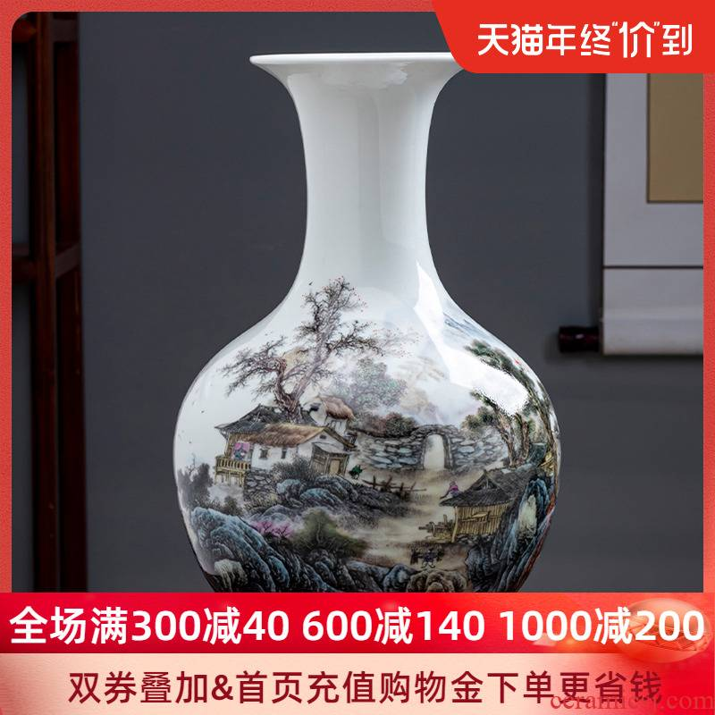 Pastel landscapes of jingdezhen ceramics vase furnishing articles to admire the porcelain bottle son Chinese style living room office decoration