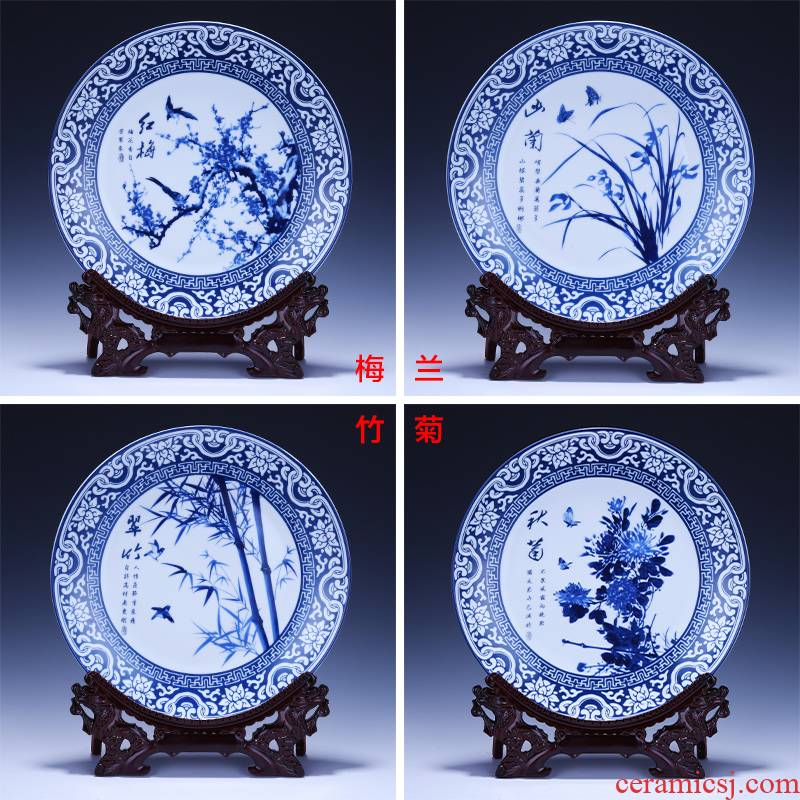 Jingdezhen chinaware plate decoration plate of four gentlemen of blue and white porcelain plate is placed new sitting room of Chinese style household act the role ofing is tasted