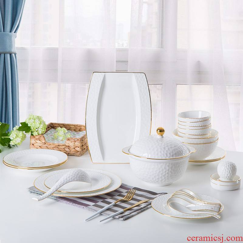 Ipads bowls up phnom penh dish suit household jingdezhen ceramic tableware water cube creative contracted light key-2 luxury bowl dish