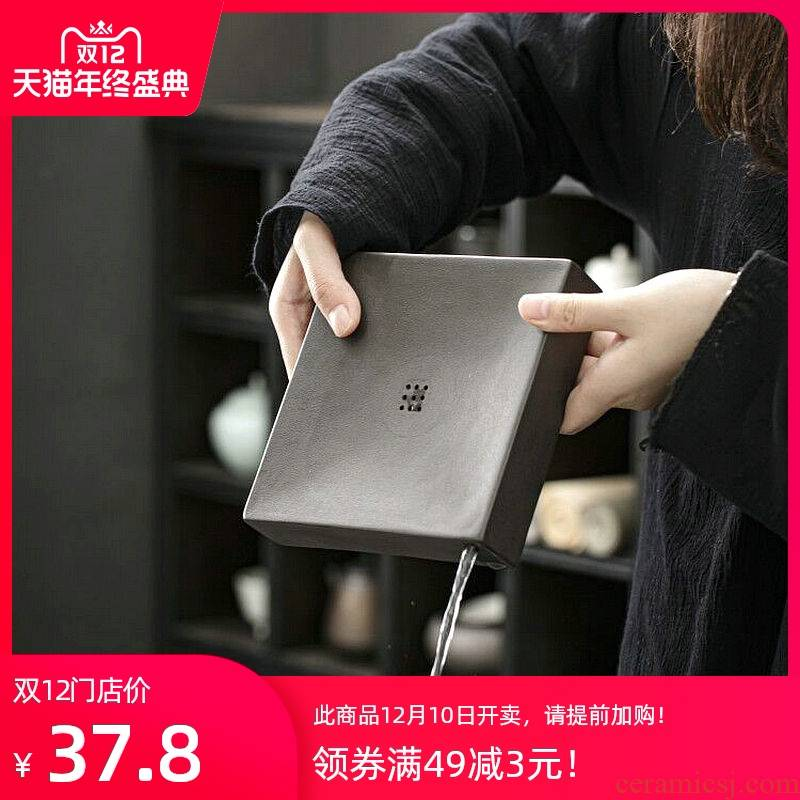 Japanese tea is black ceramic POTS bearing kung fu tea set small tea table coarse pottery pot pad zen storage dry plate pot of restoring ancient ways
