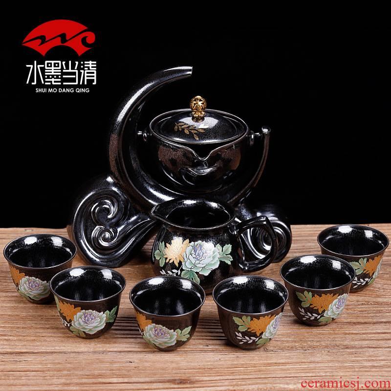 Semi - automatic black tea set lazy household ceramics with tea, Chinese kung fu tea tea sitting room an artifact