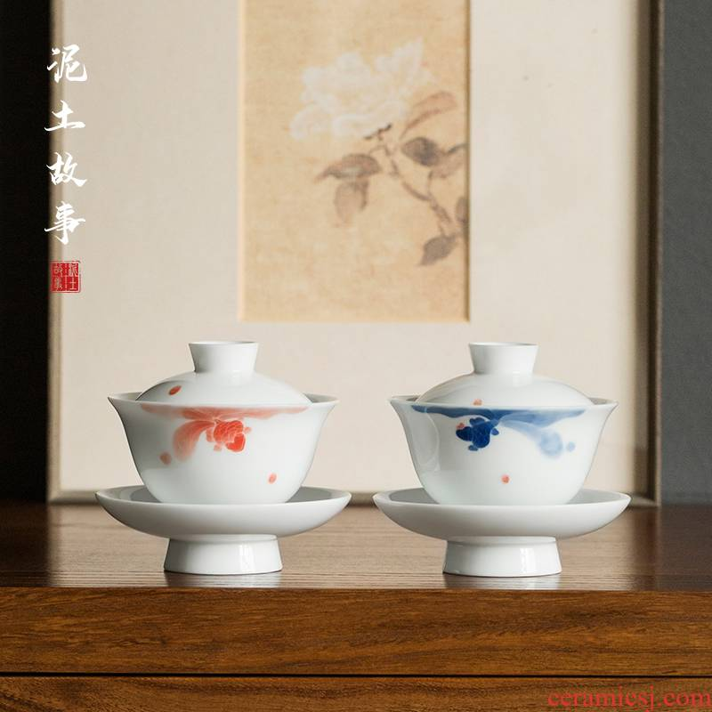 Jingdezhen pure manual hand - made fish play only three tureen tea cups a single thin foetus ceramic bowl kung fu tea set