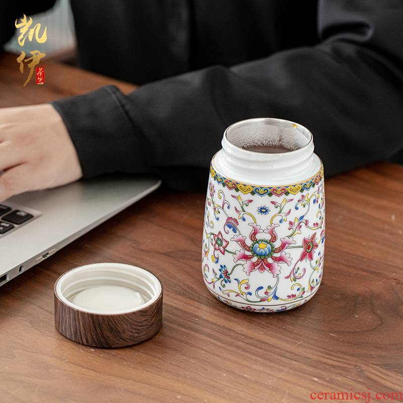 Colored enamel coppering. As silver court wind warm heart cup of jingdezhen ceramic tea cup silver cup vacuum cup warm hand