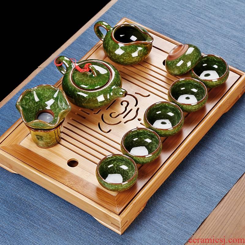 Simple small kung fu tea set home sitting room mini tea tray ceramic ice crack teapot tea taking office