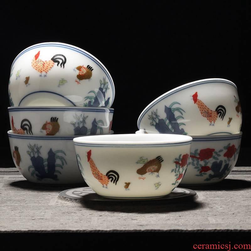 Hui shi da Ming chenghua choi chicken fights cylinder 280 cups of tea set suit jingdezhen manual archaize play kung fu tea set