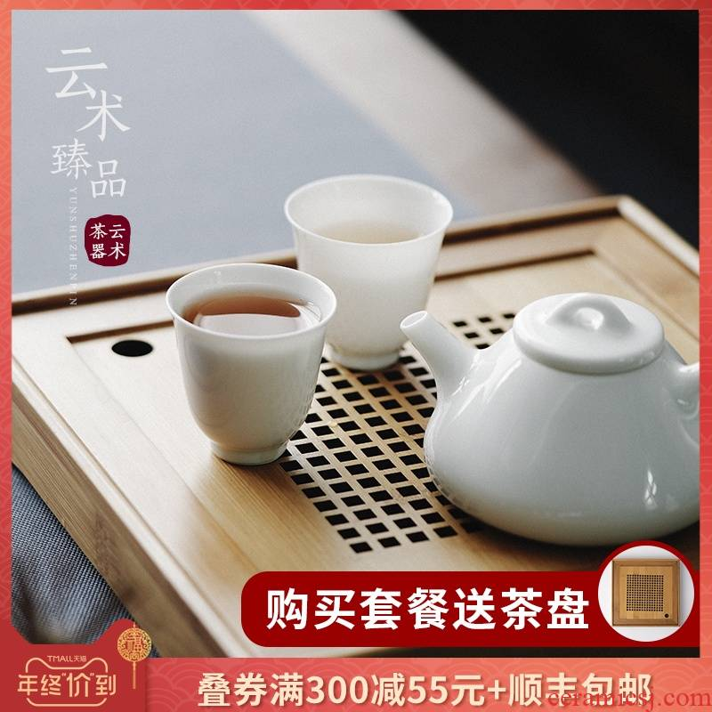 Tea set household of Chinese style pure manual white porcelain ceramic flower pot Tea ware kunfu Tea ware Tea cups