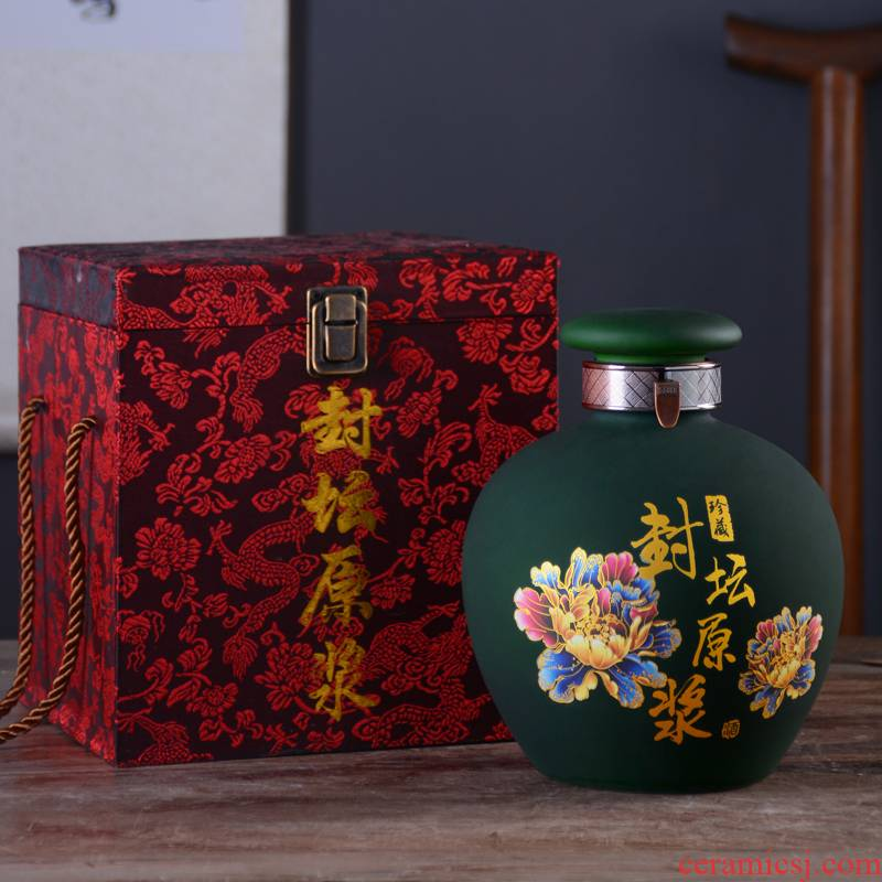 Jingdezhen creative bottles household ceramics hip flask 2 jins of 10 jins to mercifully jar jar sealing liquor gift boxes