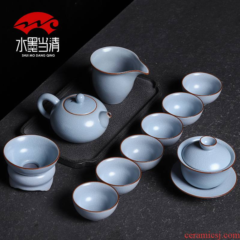 Your up kung fu tea set gift set gift high - grade household jingdezhen ceramic teapot teacup cracked ice crack