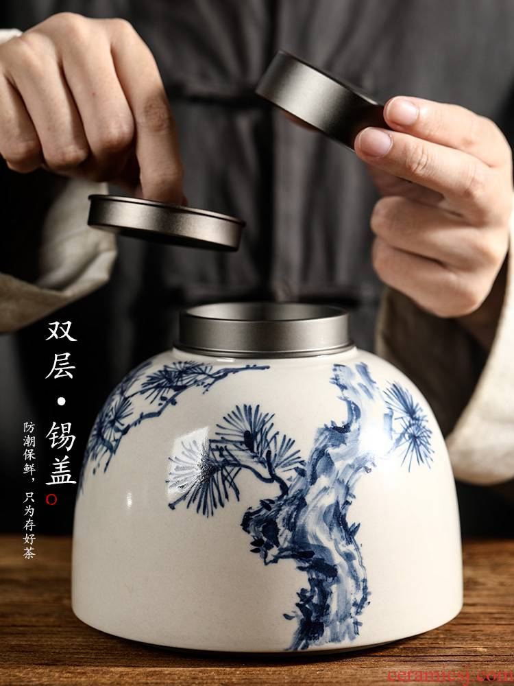 Plant ash glaze blue and white tea caddy fixings jingdezhen hand - made seal pot checking ceramic POTS storage tanks