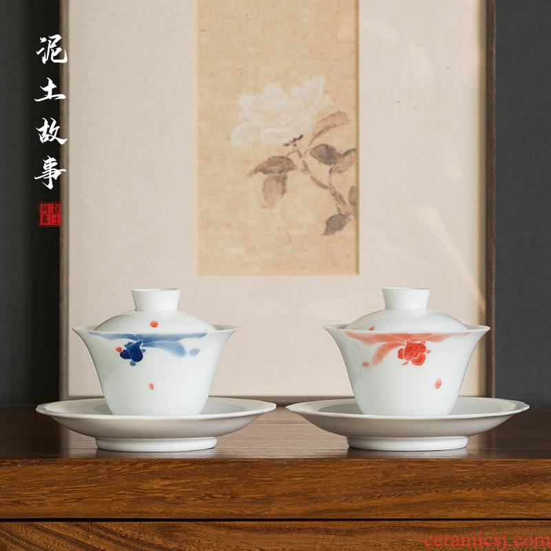 Tureen tea bowl large ceramic white porcelain kung fu tea tea set jingdezhen blue and white porcelain bowl three bowls of individual