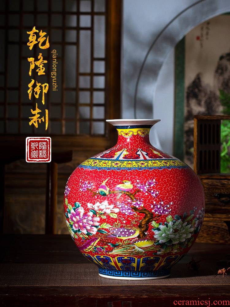 Jingdezhen ceramics enamel pomegranate flower vase furnishing articles sitting room of Chinese style household TV ark, flower arranging office decoration