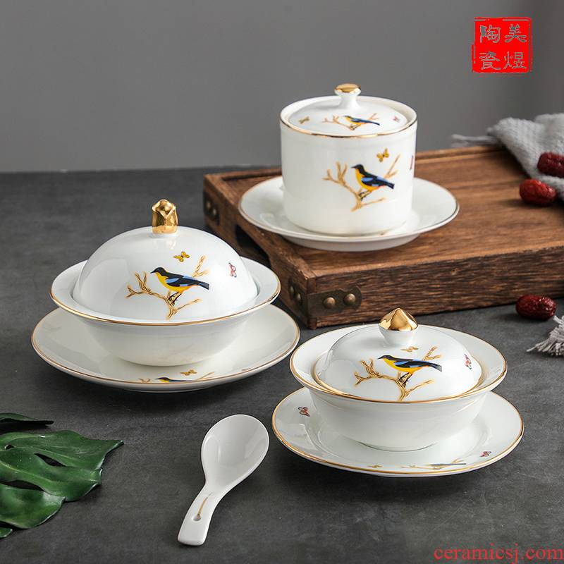 Water stew with liao and bird 's nest cup with cover small ceramic cup porcelain cup stew stew soup bowl dessert isinglass sugar Water bowls