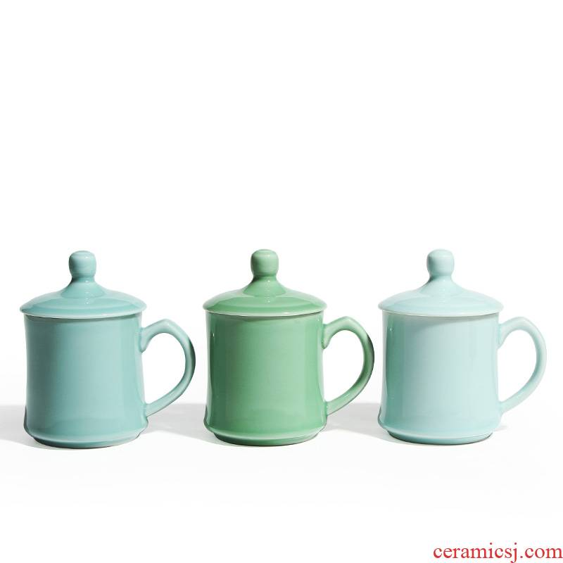 Longquan celadon ceramic cups with cover cup mark cup Chinese working and high - temperature home tea cups