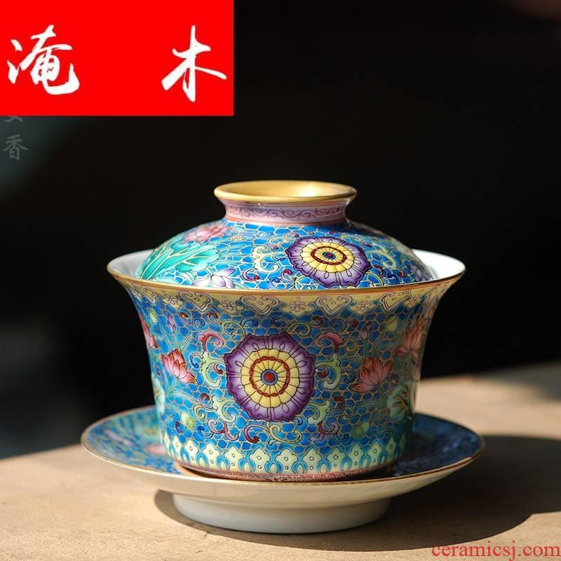 Submerged wood see colour enamel handpainted lotus treasure phase flower tureen jingdezhen all checking ceramic porcelain fine powder enamel