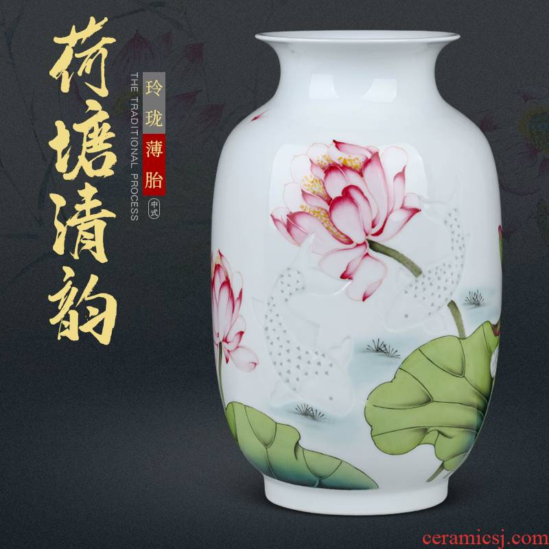 Jingdezhen famous hand - made ceramics vase furnishing articles sitting room of Chinese style household flower arranging dried flowers, decorative arts and crafts