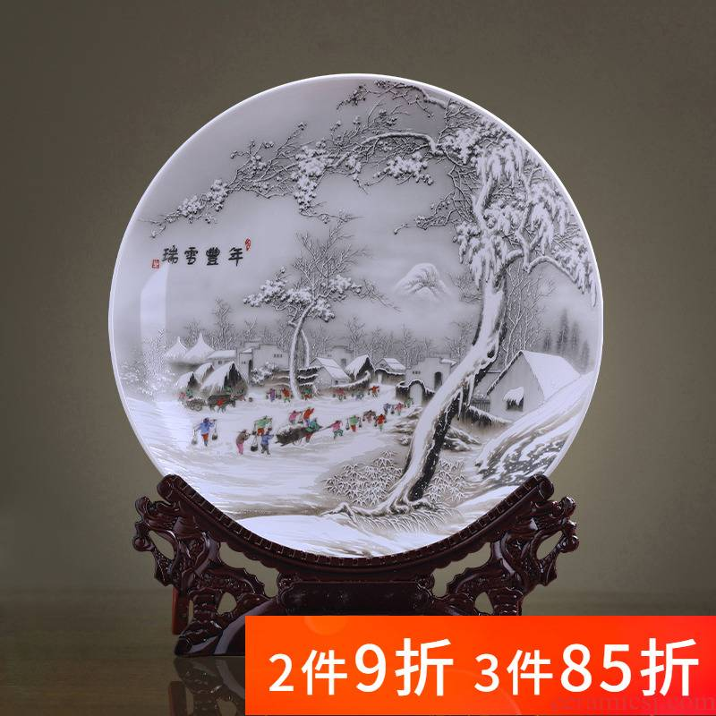 Jingdezhen porcelain ceramic snow decorative plate plate sits plate of new Chinese style household furnishing articles sitting room adornment plates