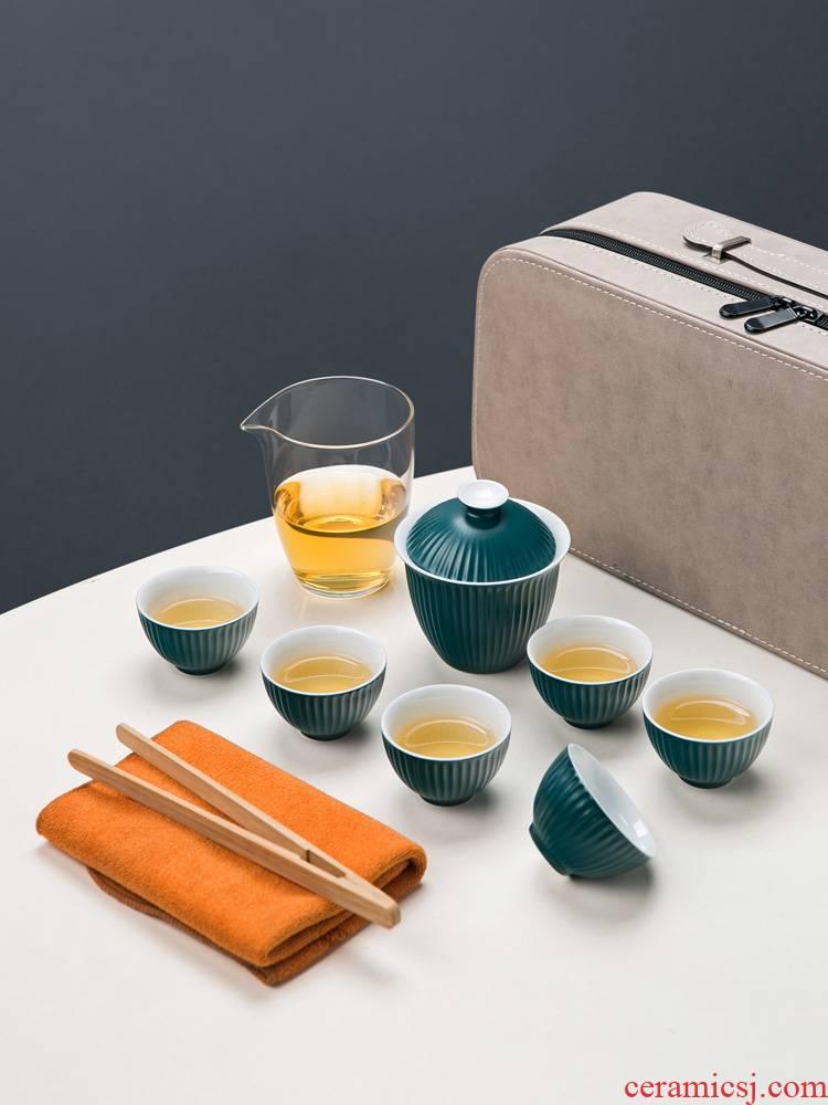 Jingdezhen ceramic tureen tea kungfu tea sets, small set of simple, portable is suing travel tea set