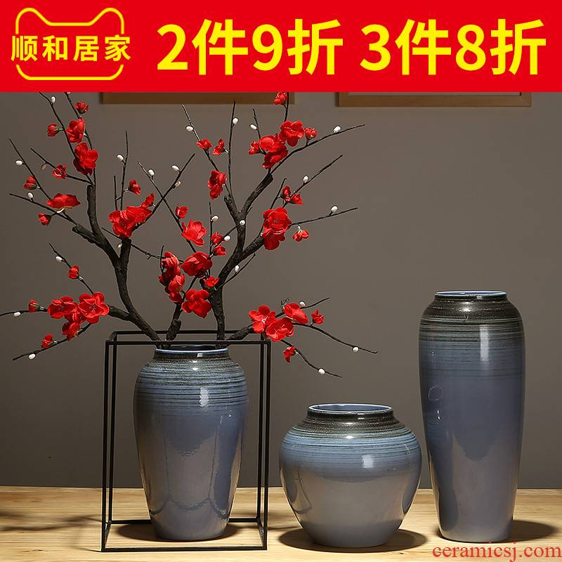 Nordic dried flower adornment furnishing articles sitting room table flower vase TV cabinet desk ceramic household porcelain decoration
