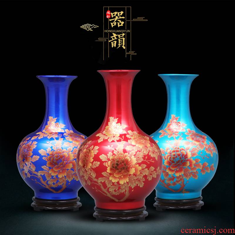 Jingdezhen ceramics China red crystal glaze gold flower vases, flower arranging new Chinese style household furnishing articles sitting room adornment