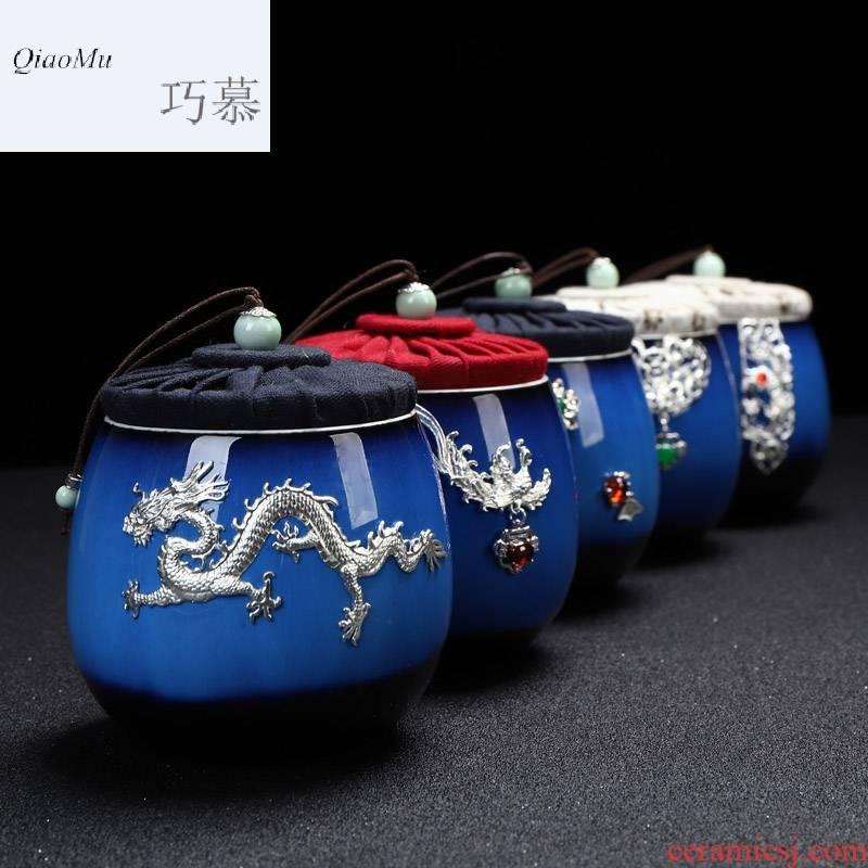 Qiao mu ceramic tea pot set tasted silver gilding home tea POTS small red glaze, the pu - erh tea storage sealed as cans