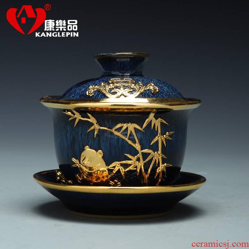 Recreational product an inset jades wiredrawing tureen jingdezhen ceramic tea bowl to build one set Jin Sancai tureen tea gifts