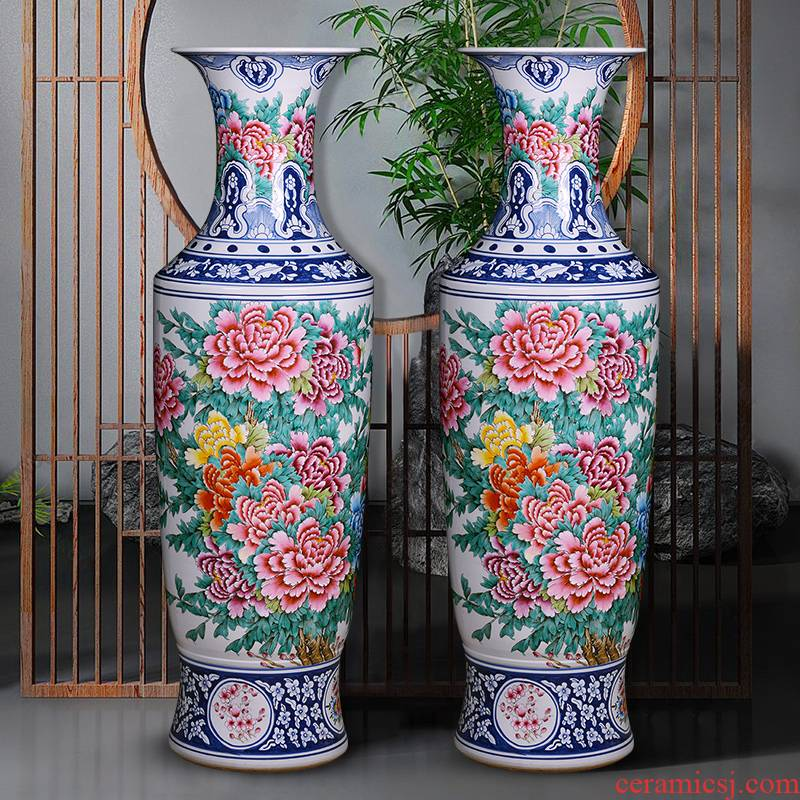 Jingdezhen ceramics vase hand - made porcelain enamel blooming flowers, large living room decoration to the hotel opening furnishing articles