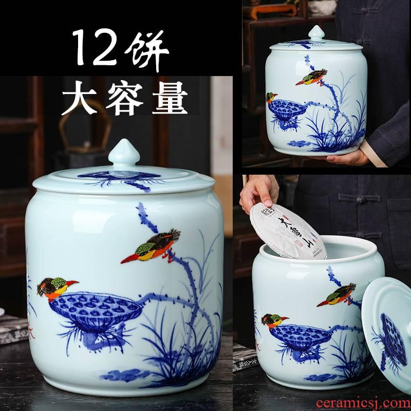 Jingdezhen hand - made ceramic tea pot large deposit tea pu 'er tea storage sealed up 12 cake tea urn storage POTS of household
