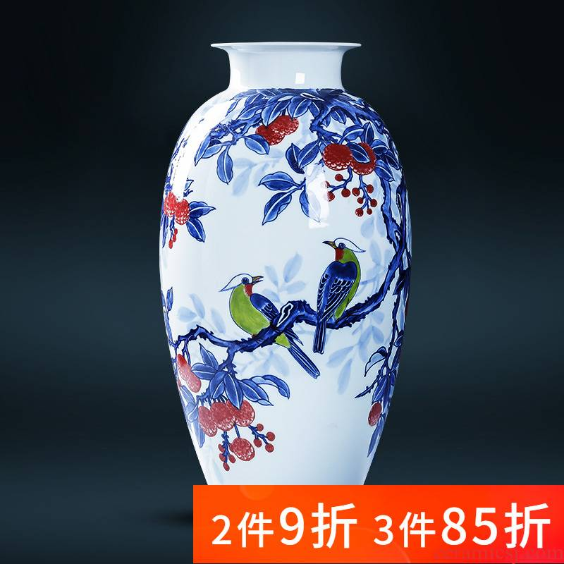 Jingdezhen porcelain ceramic hand - made of blue and white porcelain vase sitting room of Chinese style household furnishing articles TV ark, flower decorations