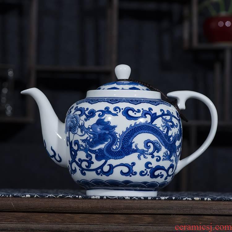 Ceramic teapot single pot of belt filter large household utensils suit under the glaze color of blue and white porcelain of jingdezhen porcelain