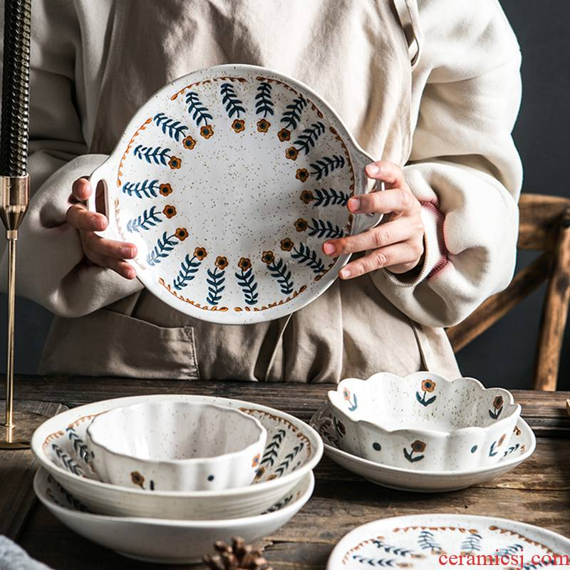 Japanese Europe type restoring ancient ways individuality creative household jobs tableware ceramic bowl dessert lace floret tableware rainbow such use