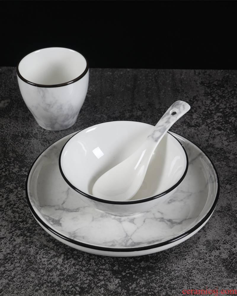 Simple black border tableware suit northern wind marble ceramic dish dish combination home eat rice bowl dish originality