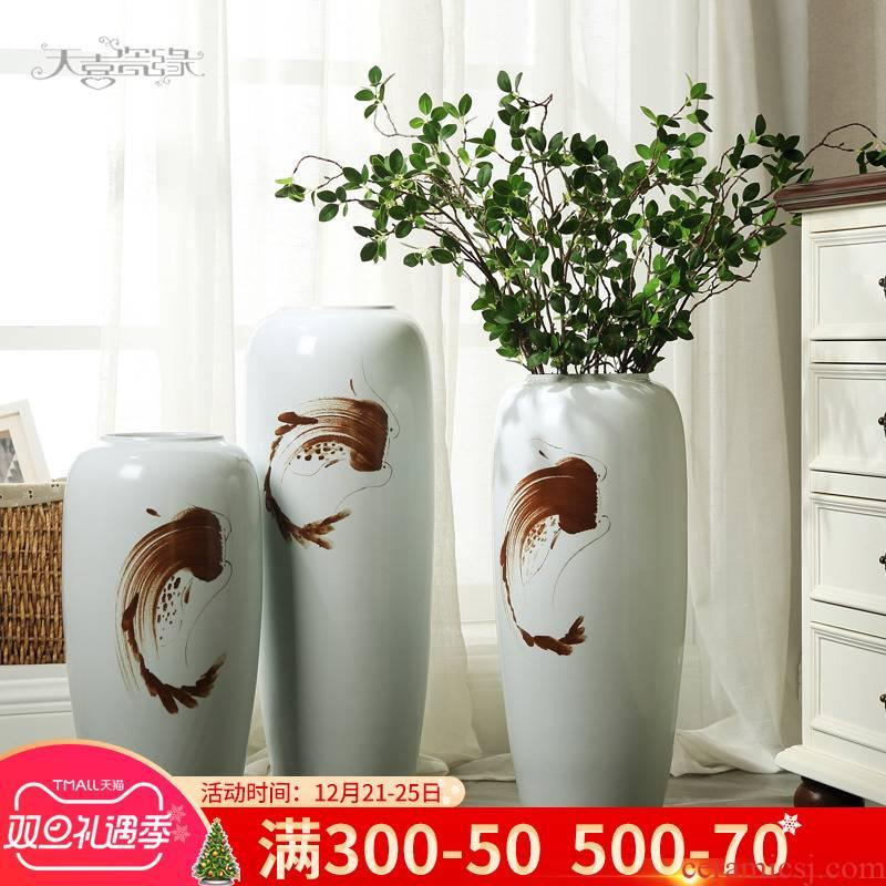 Jingdezhen modern ceramic floor vase creative furnishing articles contracted sitting room TV ark, flower arrangement home decoration