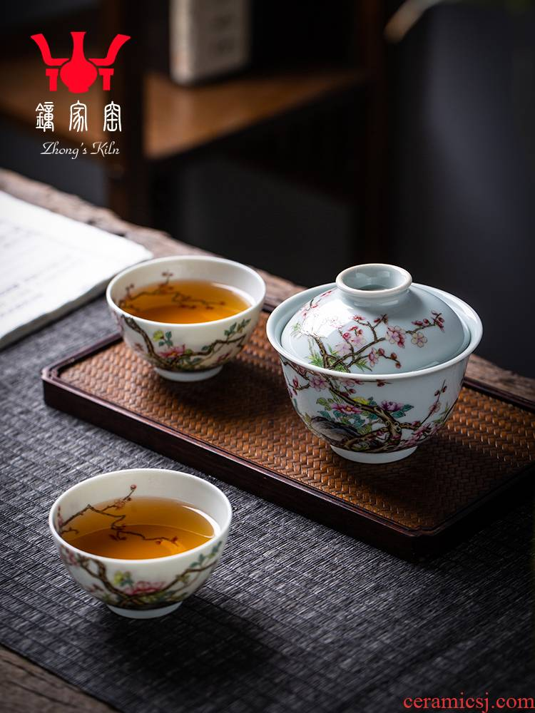 Clock home jingdezhen up tureen tea cup set manual tea colored enamel high - end prosperous flower is a tureen two cup