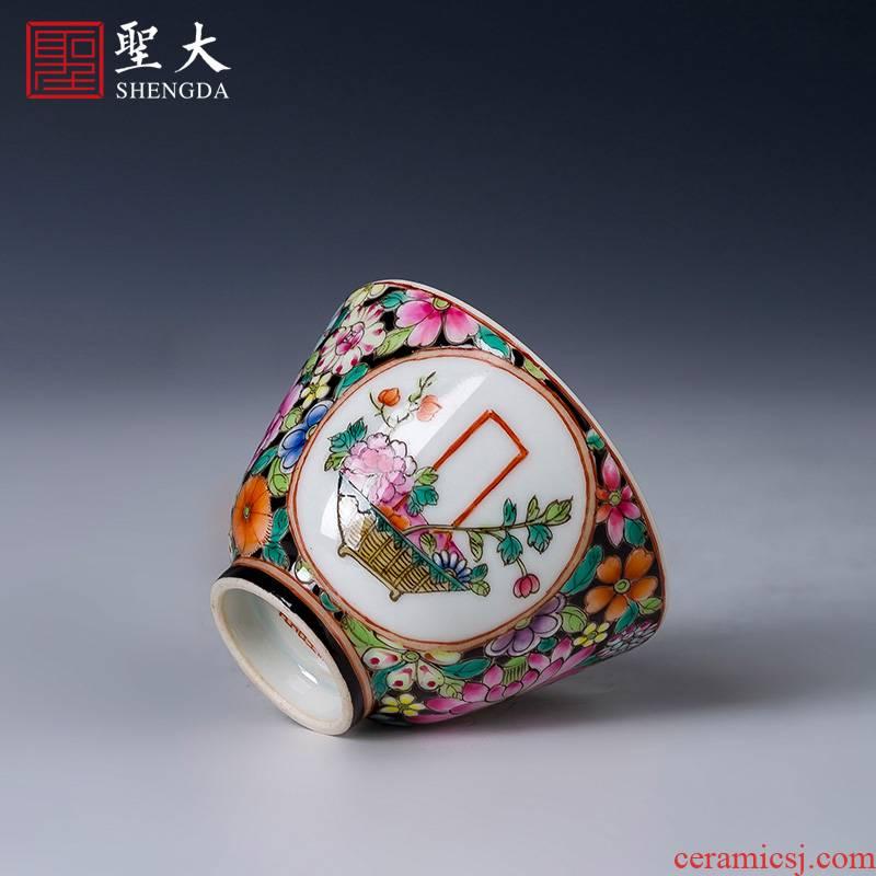 Holy big pure hand - made ceramic kung fu tea powder enamel flower medallion basket lines master cup of jingdezhen tea service by hand