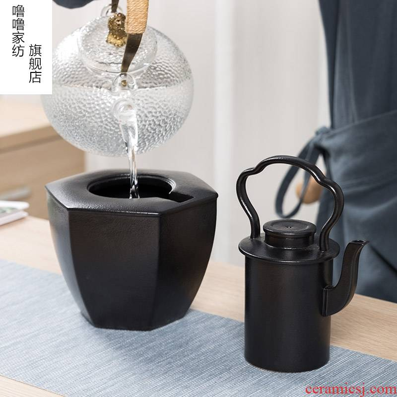 Wine temperature hot hip household black ceramic Wine suits for Chinese style imitation song dynasty style typeface warm yellow rice Wine temperature Wine pot two - piece outfit