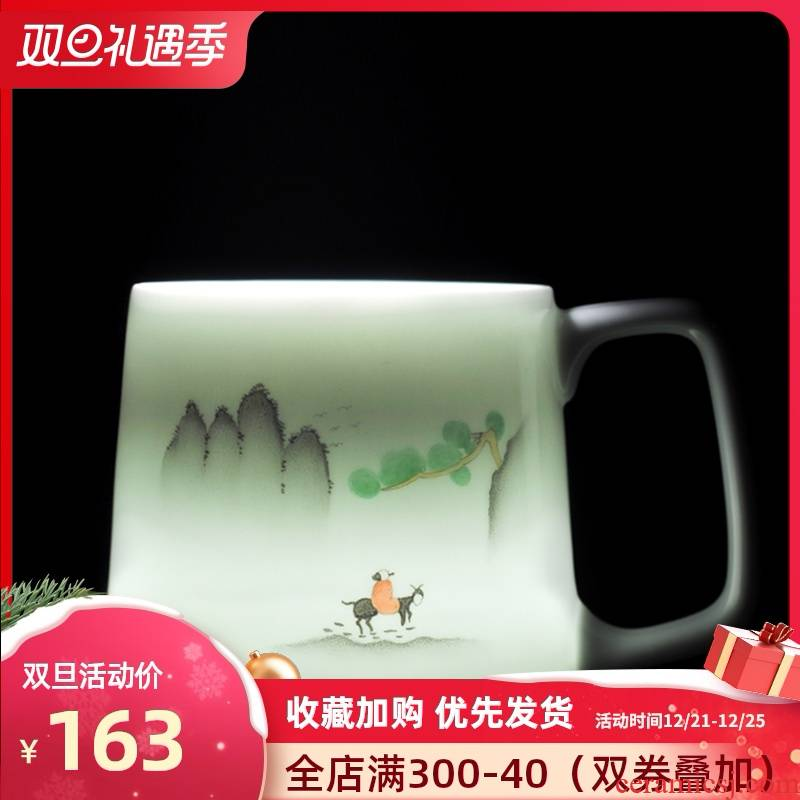 Jingdezhen creative household glass hand - made ceramic cup with cover with filter tea cup office gift cups cup
