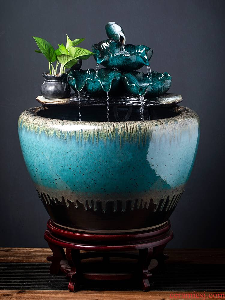 Jingdezhen ceramic tank sitting room balcony office household automatic cycle water tank water lily lotus pot cylinder