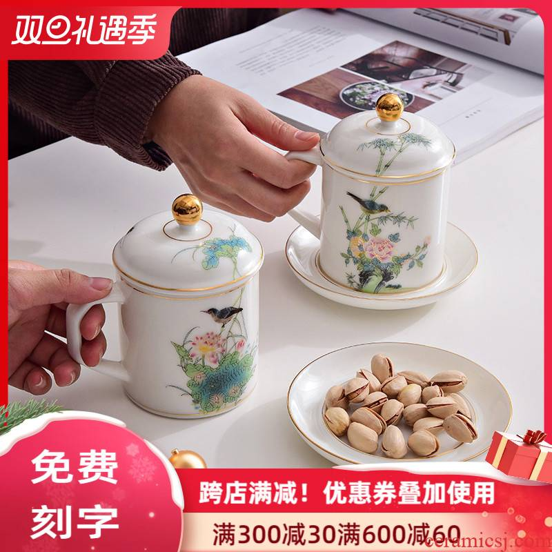Chinese wind white porcelain office tea cups with cover glass ceramic cup silver cup 999 sterling silver personal cup and meeting