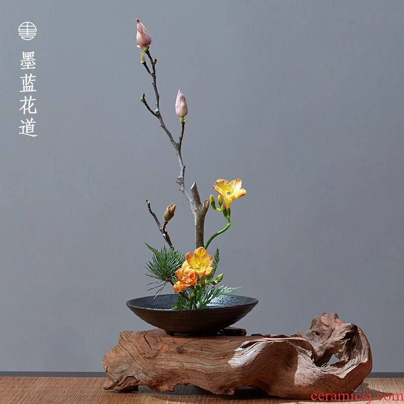 Three foot plate ceramic faceplate flowerpot jian mountain flower arrangement of Chinese style flower implement big zen Japanese small flow base vessels