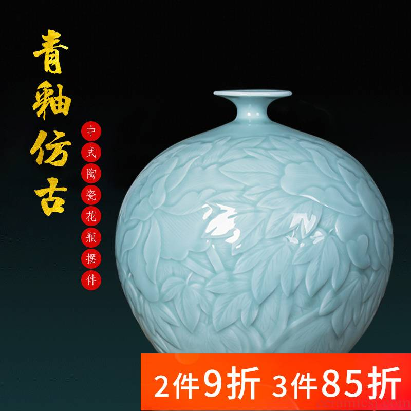 Jingdezhen ceramics, vases, flower arranging new Chinese style living room rich ancient frame furnishing articles green glaze pomegranate bottle home decoration